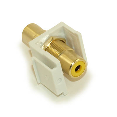Wall plate: Keystone Jack - RCA with YELLOW Center, Gold Plated, White