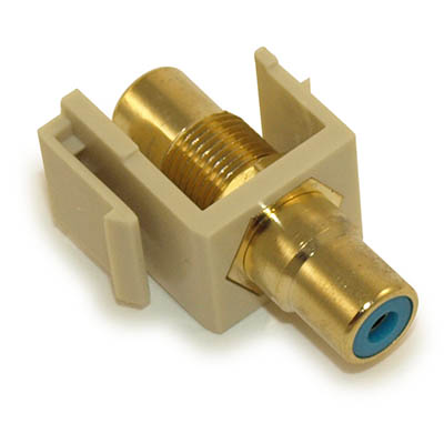 Wall plate: Keystone Jack - RCA with BLUE Center, Gold Plated, Ivory