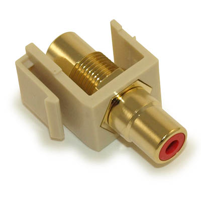 Wall plate: Keystone Jack - RCA with RED Center, Gold Plated, Ivory