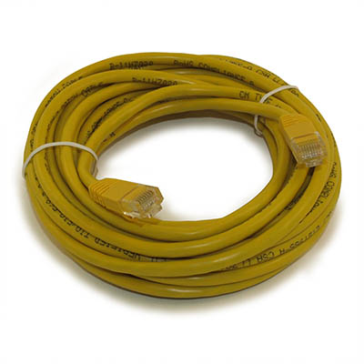20ft Network Patch Cord, CAT5E Stranded, Gold Plated, YELLOW