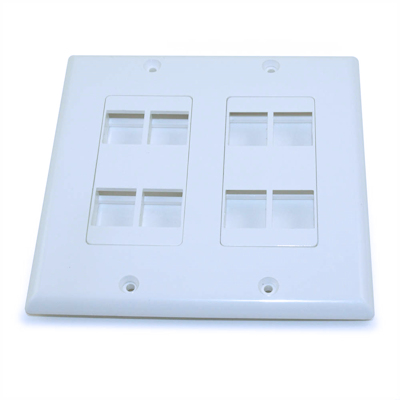 Wall plate: Decora Keystone, DUAL Gang 8 Hole - White