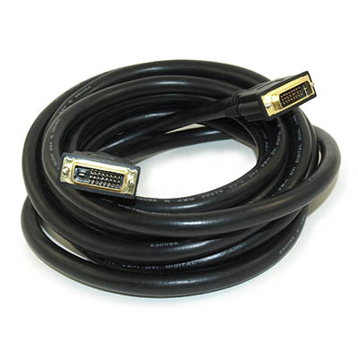 15ft DVI-D Dual Link DIGITAL (24 AWG) Male to Male HDTV Gold Plated Cable