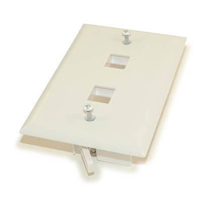 Wall plate: Keystone, 2 Hole with Built-in Connector Latches, White