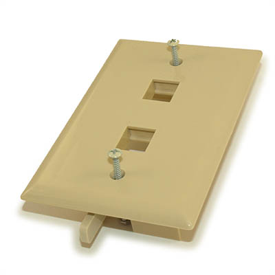 Wall plate: Keystone, 2 Hole with Built-in Connector Latches, Ivory