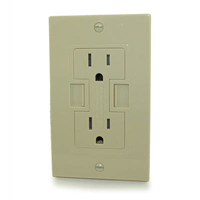 Wall plate: USBx2 2000mA Electrical Outlet w/2x110v TAMPER-Receptacle,Ivory