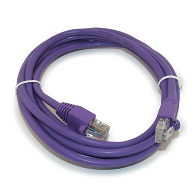 7ft Network Patch Cord, CAT5E Stranded, Gold Plated, PURPLE