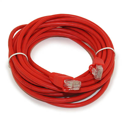 14ft Network Patch Cord, CAT5E Stranded, Gold Plated, RED