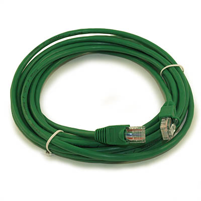 25ft Network Patch Cord, CAT5E Stranded, Gold Plated, GREEN
