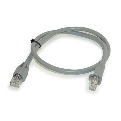 2ft Network Patch Cord, CAT6 Stranded, Gold Plated, GRAY