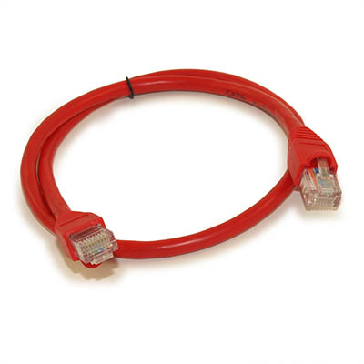 2ft Network Patch Cord, CAT6 Stranded, Gold Plated, RED
