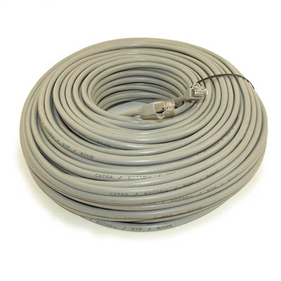 200ft SHIELDED Network Patch Cord, CAT6A Stranded, Gold Plated, GRAY