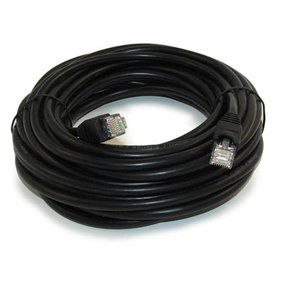 30ft Network Patch Cord, CAT6 Stranded, Gold Plated, BLACK