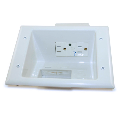 Wall plate: Cable Pass-thru SURGE Media Plate w/ DUAL 110v Recessed, White