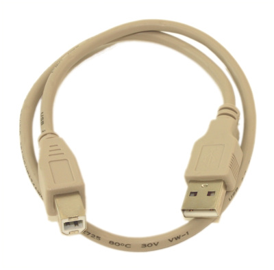 1.5ft USB 2.0 Certified 480Mbps Type A Male to B Male Cable, Beige