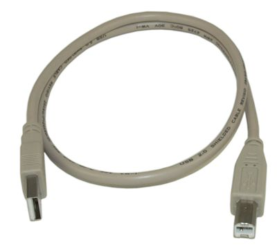 2ft USB 2.0 Certified 480Mbps Type A Male to B Male Cable, Beige