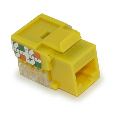 Wall plate: Keystone Jack - Cat 5E RJ-45 Networking, Yellow