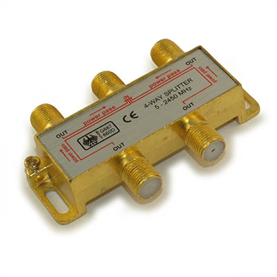Coax Splitter, 4 Way, (Premium, Gold Platted) 5-2400 Mhz