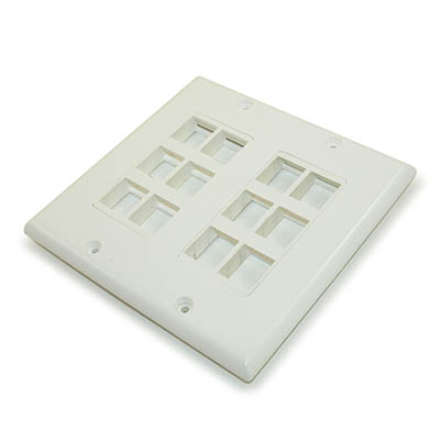 Wall plate: Decora Keystone, DUAL Gang 12 Hole - White
