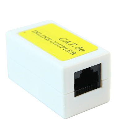Inline Coupler RJ45 Cat5e Jack, Female to Female, White