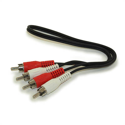1.5ft 2 Wire RCA Audio Cables, Male/Male (General Duty)
