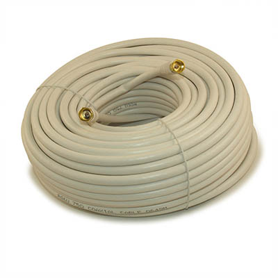 100ft RG6 QUAD SHIELD HI-BANDWIDTH Coax Cable F-type Gold Plated WHITE