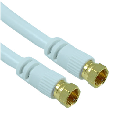 25ft RG6 QUAD SHIELD HI-BANDWIDTH Coax Cable F-type Gold Plated WHITE