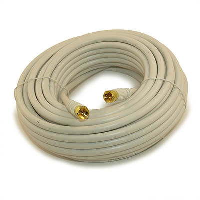 50ft RG6 QUAD SHIELD HI-BANDWIDTH Coax Cable F-type Gold Plated WHITE