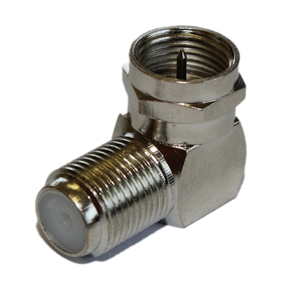 Coax/F-Type Right Angle Adapter HIGH SPEED 2.5Ghz, Nickel Plated (RG6/RG59)