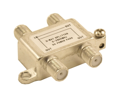 Coax Splitter, 3 Way, (Premium, Nickel Platted) 5-2500 Mhz