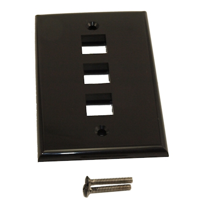 Wall plate: Keystone, 3 Hole - Black