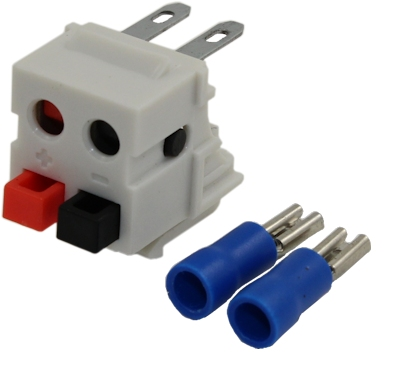 Wall plate: Keystone Jack Dual Speaker w/Rear Crimp Block 14-30AWG, White