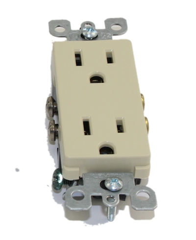 15A 125V, 5-15R, Decora Duplex Receptacle Outlet, Ivory