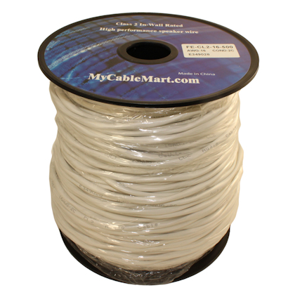 500ft Speaker Wire, 16AWG Copper In Wall Rated/CL2 with PVC Outer Jacket