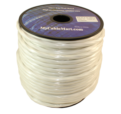 250ft Speaker Wire, 12AWG/4 Wire Copper In Wall Rated/CL2 with PVC Jacket