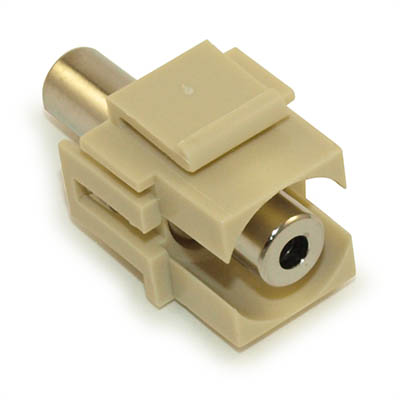 Wall plate: Keystone Jack Stereo 3.5mm Audio Jack, Coupler Type, Ivory