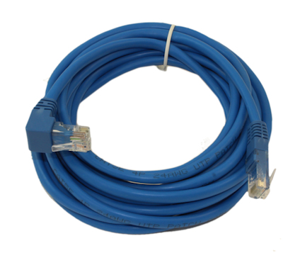 14ft ANGLED Network Patch Cord, CAT5E Stranded, Gold Plated, BLUE
