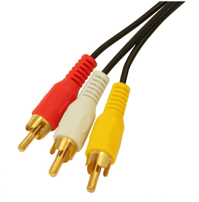 50ft 3 Wire RCA GENERAL DUTY Composite Video with Audio Gold Plated Cables