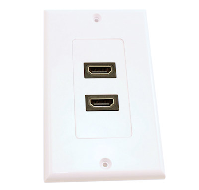 HDMI Wall Plate (Dual) Direct Straight Degree Feed-thru, White