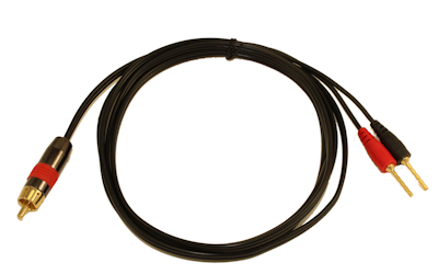 15ft 1 Wire SubWoofer 18AWG (1 RCA to 2 Pos/Neg Speaker Connects)