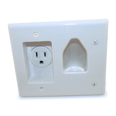 Wall plate: Cable Pass-thru Media Plate with 110v Recessed, White