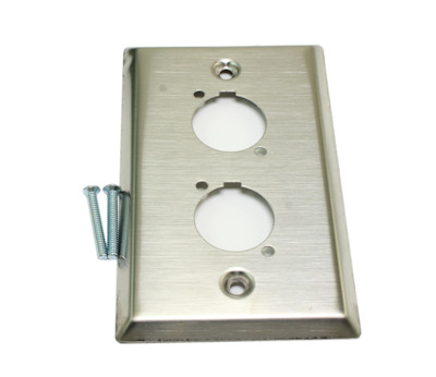 Wall plate: 1 Gang D-Series Connector Plate, Stainless Steel, 2 hole