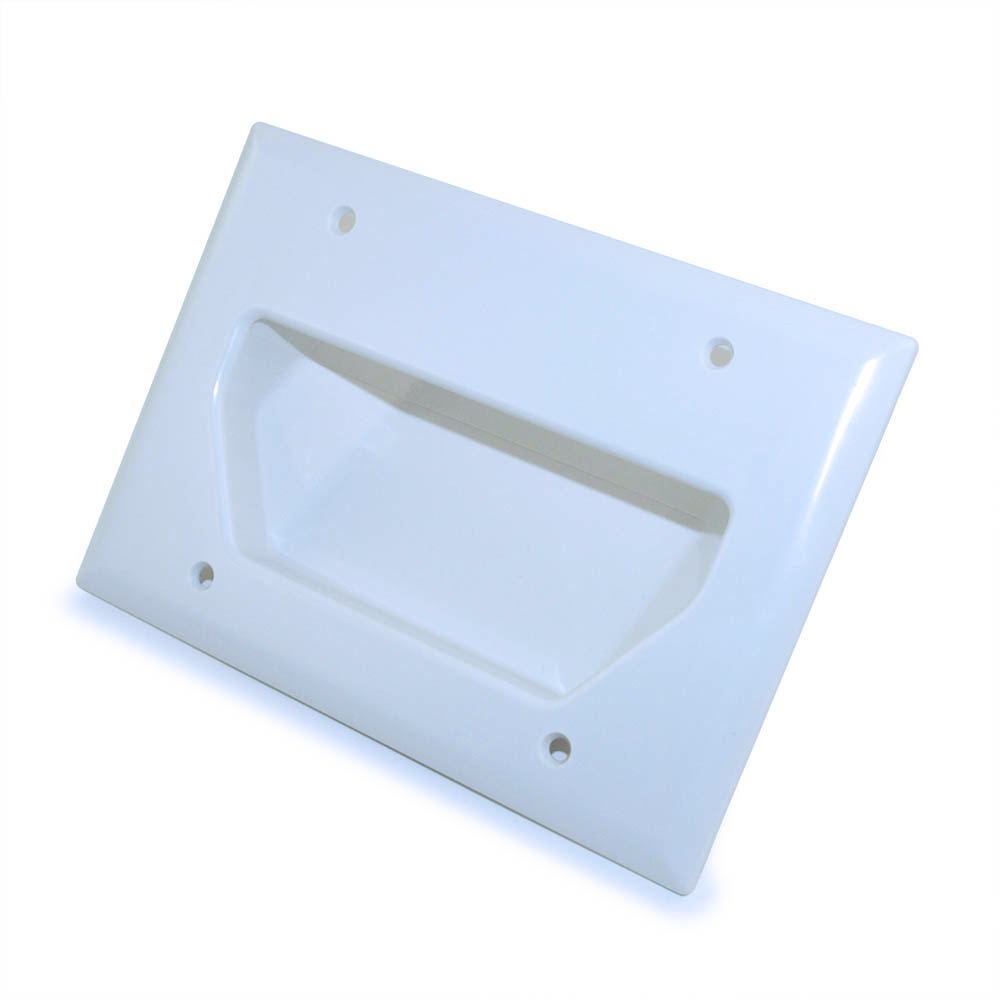 Wall Plate Cable Pass Through : My cable mart wall plate triple gang recessed