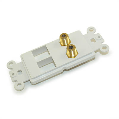 Wall plate: 2 F/Coax Connects & 2 Open Keyst Decora Plate Insert, White